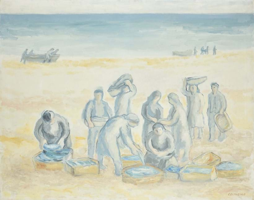 Inline Image - Lot 66: Manuel Colmeiro (Spanish1901-1999), 'Fisherfolk unloading the catch', Oil on canvas | Sold for £18,750