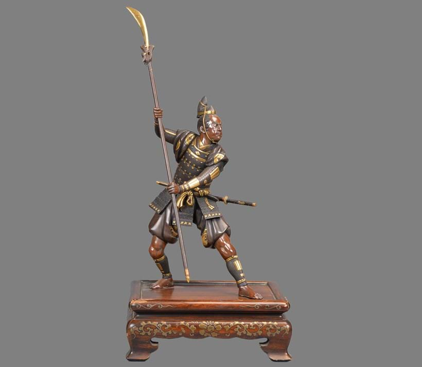 Inline Image - Lot 455: GYOKKO: A Japanese Parcel Gilt Bronze Figure of a Warrior | Est. £2,000-3,000 (+fees)