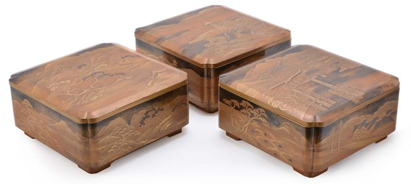 Inline Image - Lot 449: Three Japanese Lacquer Boxes and Covers | Est. £2,000-3,000 (+fees)