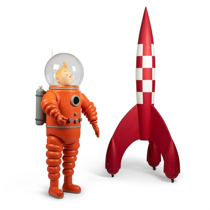 Inline Image - Lot 421: A LARGE MODEL OF TINTIN IN A SPACESUIT TOGETHER WITH A MODEL ROCKET, MODERN | Est. £3,000-5,000 (+fees) | Sold for £13,750