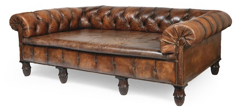 Inline Image - Lot 382: AN EXCEPTIONALLY LARGE CHESTERFIELD 'COUNTRY HOUSE' SOFA, 19TH CENTURY | Est. £3,000-5,000 (+fees) | Sold for £27,500