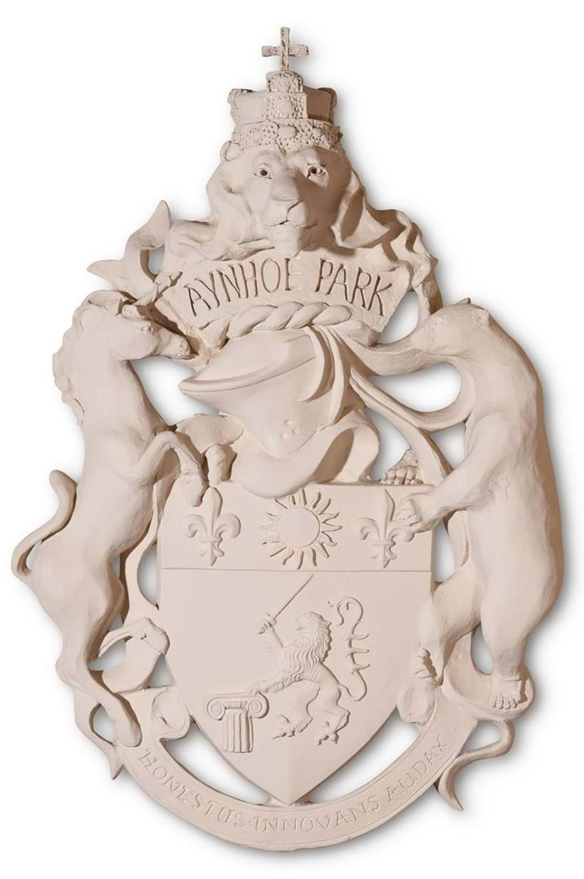 Inline Image - Lot 358: A PLASTER MOULDING OF THE AYNHOE PARK COAT OF ARMS, MODERN | Est. £100-200 (+fees) | Sold for £4,000