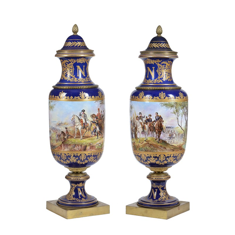A pair of Sevres style pottery gilt-metal mounted vases and covers, circa 1900 | The Ballyedmond Collection