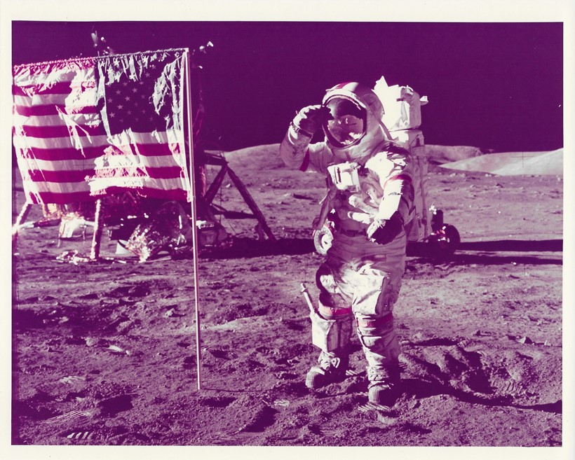 Inline Image - Lot 356: Apollo 17. Last man to walk on the Moon salutes American flag | Est. £400-600 (+fees)