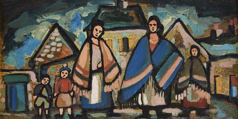 Inline Image - Lot 6: λ Markey Robinson (Irish 1917-1999), 'Shawlies in the village', Oil on board | Est. £1,500-2,000 (+fees)