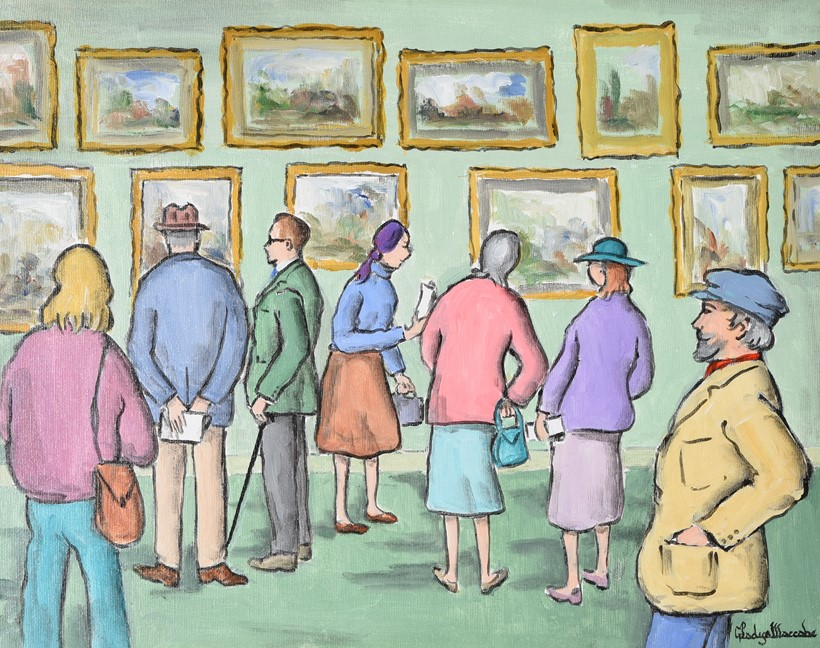 Inline Image - Lot 8: λ Gladys Maccabe (Irish 1918-2018), 'Gallery visitors', Oil on canvas | Est. £1,000-1,500 (+fees)