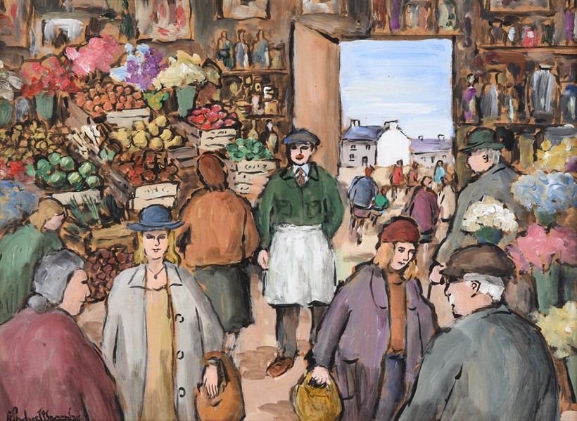 Inline Image - Lot 9: λ Gladys Maccabe (Irish 1918-2018), 'At the market', Oil on board | Est. £1,000-1,500 (+fees)