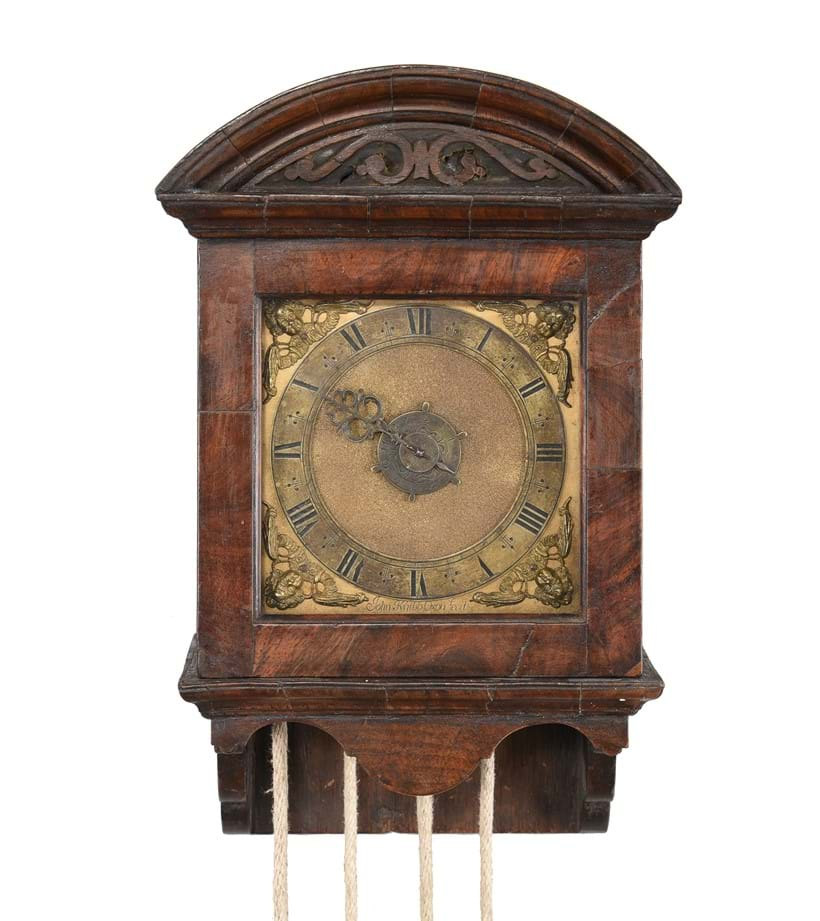 Inline Image - Lot 176: A fine and rare Charles II walnut thirty-hour striking small hooded wall clock with alarm John Knibb, Oxford, circa 1685 | Est. £20,000-30,000 (+fees)