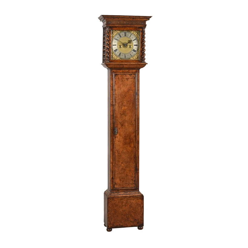Inline Image - Lot 183: A fine and Rare William and Mary small figured walnut eight-day longcase clock, Christopher Gould, London, circa 1690 | Est. £30,000-40,000 (+fees)